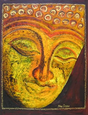 Green Buddha paint