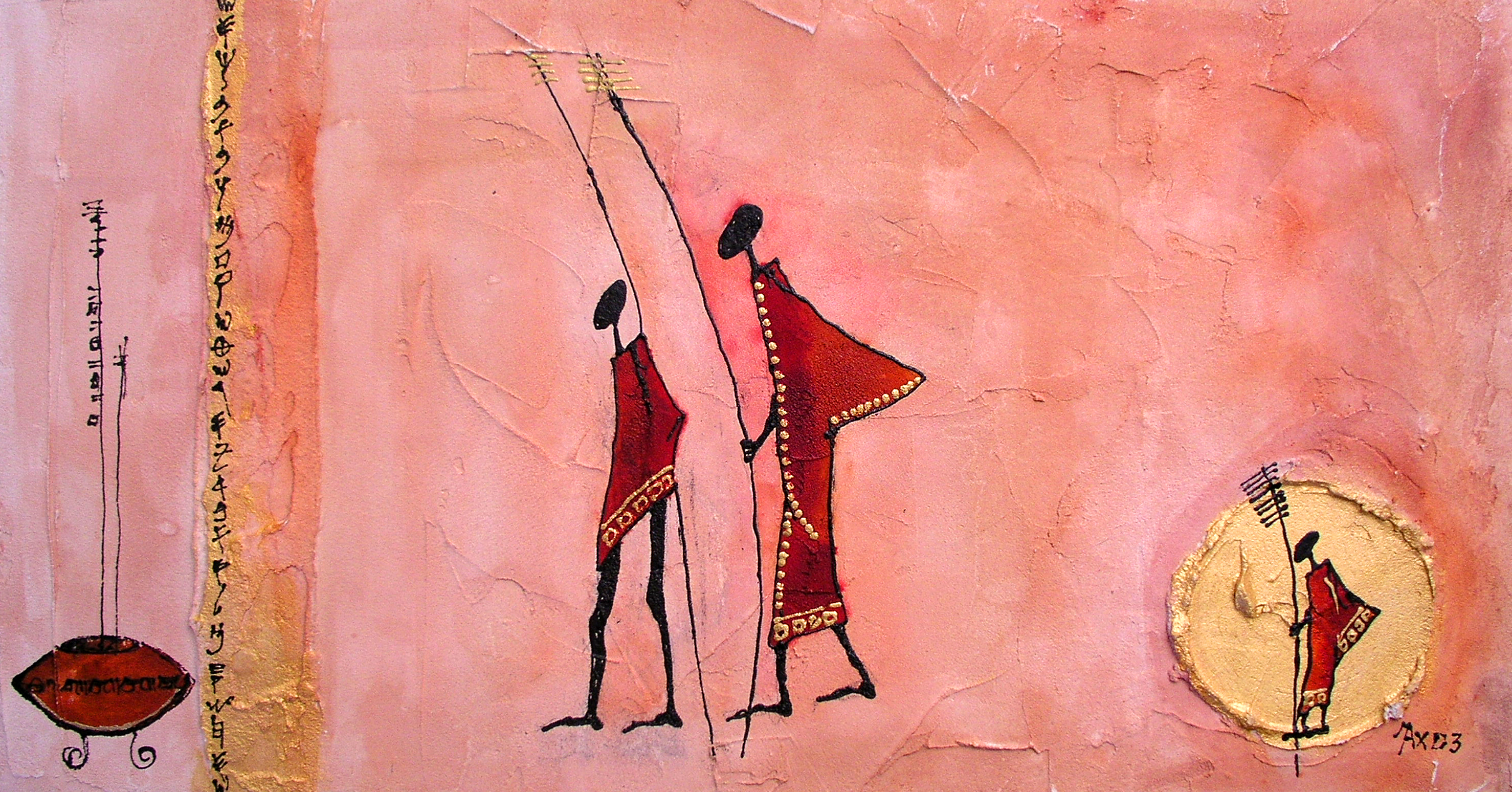 Paint of African father and son