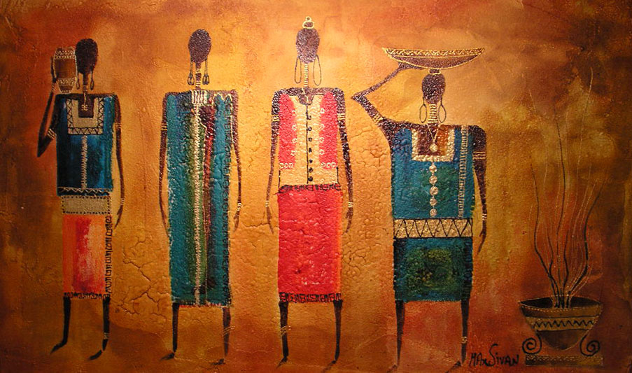 Paint of African women  working