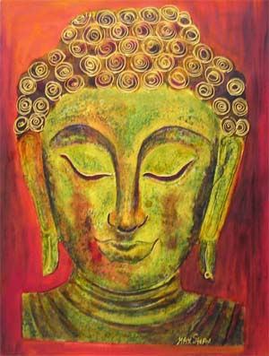 Gold and Red Buddha paint