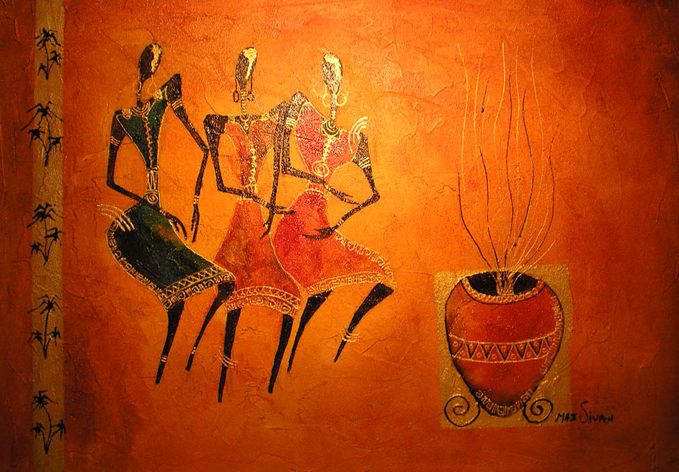 Paint of African women dancing